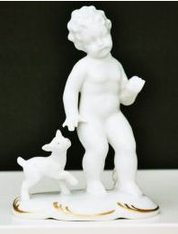 Cherub with kid goat (white)